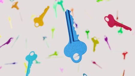 Floating steel modern key against a white background and array of out of focus modern keys of various colors. This image is a 3d render.