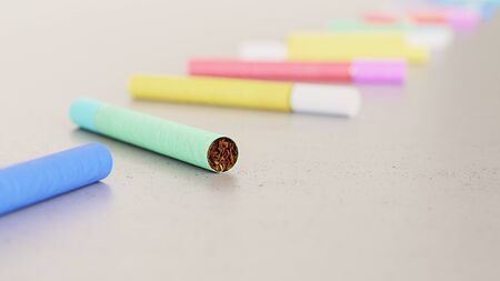 Neat line of variously oriented cigarettes on a modern minimalist neutral surface. This image is a 3d rendering. Zdjęcie Seryjne