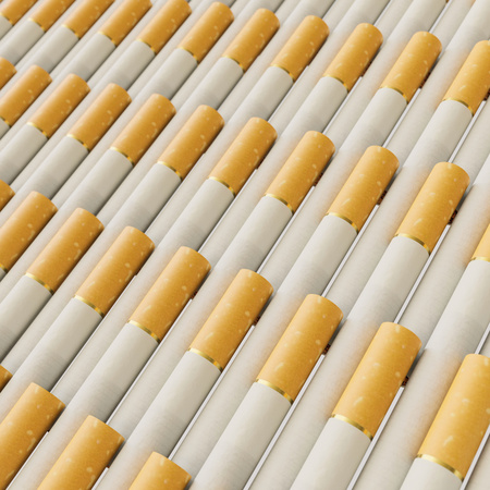 Isolated infinite array of densely packed cigarettes presented with a shallow depth of field. This image is a 3d illustration.