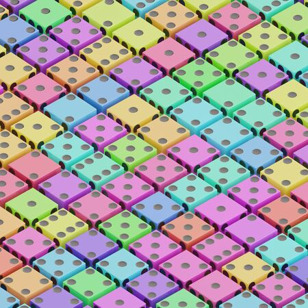 Tightly packed isometric grid of brightly colored dice. Presented with a shallow depth of field, this image is a 3d illustration.