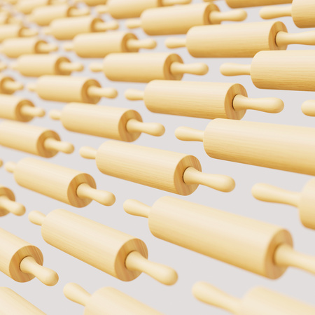 Isolated infinite array of densely packed rolling pins presented with a shallow depth of field. This image is a 3d illustration.