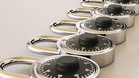 Close up on a tightly packed, perfectly aligned linear array of variously chrome combination locks on a simple modernist neutral surface. This image is a 3d render.