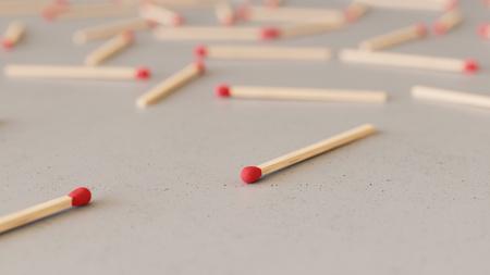 최소한의 질감 된 흰색 콘크리트 표면에 정렬 된 빨간색 matchsticks의 큰 흩어져있는 배열. 이 이미지는 3d 렌더링입니다.