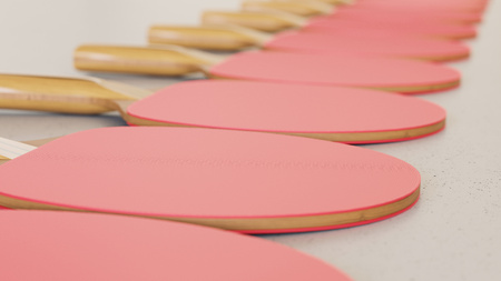 Close up on a tightly packed, perfectly aligned linear array of variously colored  paddles on a simple modernist neutral surface. This image is a 3d render. Stock Photo