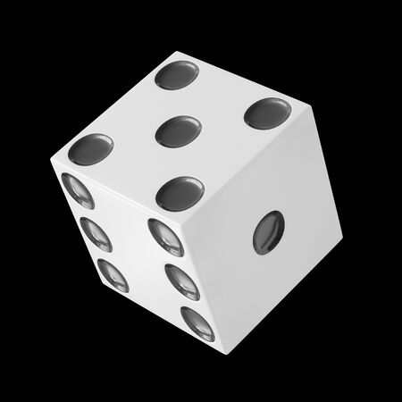 Floating Dice isolated on a black background for easy compositing. This image is a 3d render.