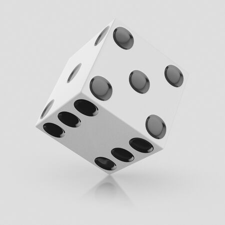 3d rendered White Dice on a seamless reflective light grey surface for easy compositing.