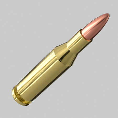 3d rendered 775 Bullet on a light background for easy isolation and compositing. Stock Photo