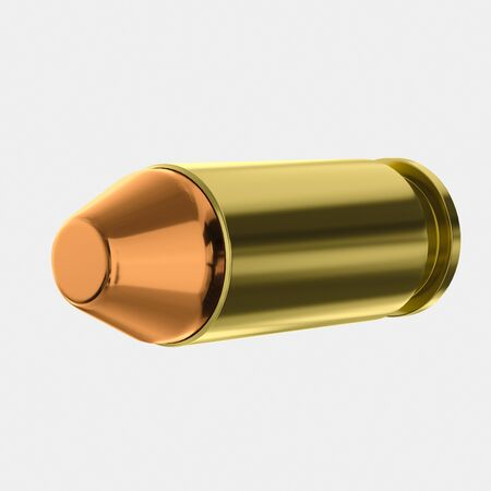 3d rendered 40 Calibre Bullet on a light background for easy isolation and compositing.