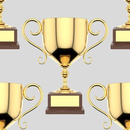 Seamlessly Tiling Background of Gold Trophys