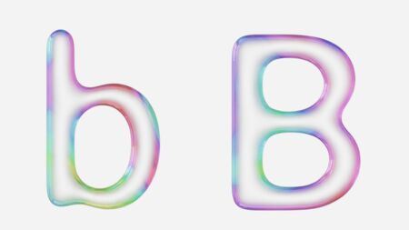 Colorful bubble letter b in lower and upper case on a white background. This image is a 3d render. Stock fotó