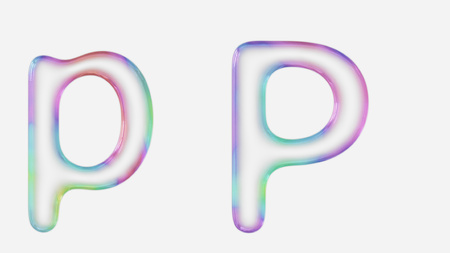 Colorful bubble letter p in lower and upper case on a white background. This image is a 3d render.