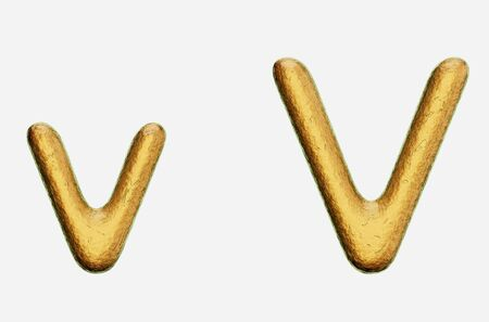 Rough bronze upper and lower case letter a on a white background. This image is a 3d render.