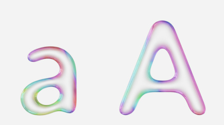 Colorful bubble letter a in lower and upper case on a white background. This image is a 3d render.