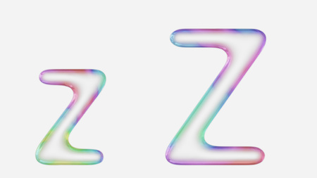 Colorful bubble letter z in lower and upper case on a white background. This image is a 3d render.
