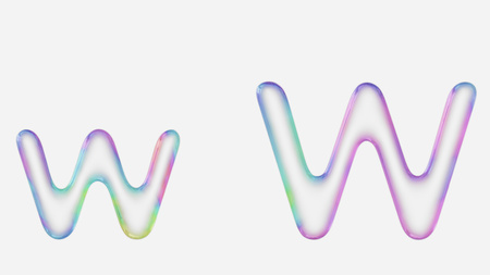 Colorful bubble letter w in lower and upper case on a white background. This image is a 3d render. Stock fotó