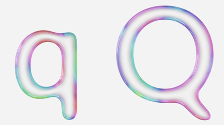 Colorful bubble letter q in lower and upper case on a white background. This image is a 3d render.