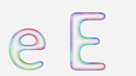Colorful Bubble Letter E In Lower And Upper Case On A White