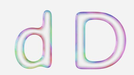 Colorful bubble letter d in lower and upper case on a white background. This image is a 3d render. Stock fotó