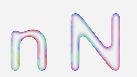 Colorful bubble letter n in lower and upper case on a white background. This image is a 3d render. Stock fotó