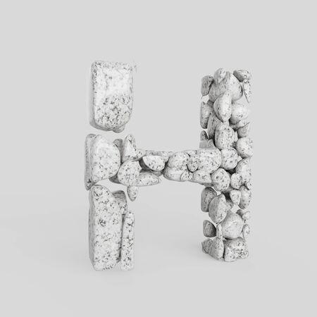 Letter H in upper case made from smooth granite stones. Seamless white floor with subtle soft shadows. This image is a 3d render.