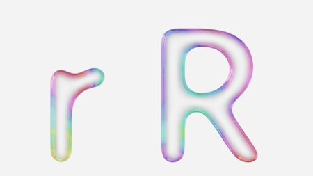 Colorful bubble letter r in lower and upper case on a white background. This image is a 3d render. Stock fotó