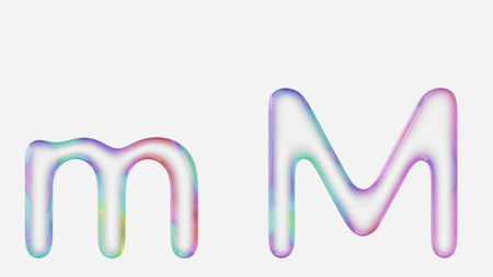 Colorful bubble letter m in lower and upper case on a white background. This image is a 3d render. Stock fotó