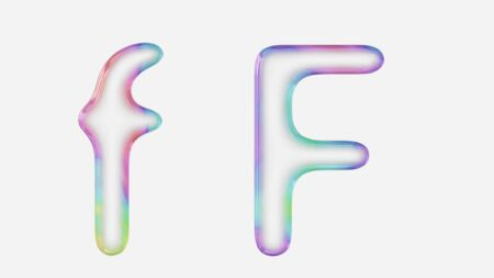 Colorful bubble letter f in lower and upper case on a white background. This image is a 3d render. Stock fotó