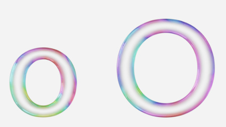 Colorful bubble letter o in lower and upper case on a white background. This image is a 3d render. Stock fotó