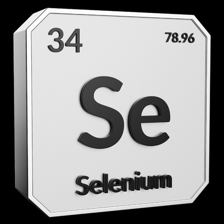 3d text of Chemical Element Selenium, its atomic weight, periodic number, and symbol on shiny metal geometry with a black background. This image is a 3d render.