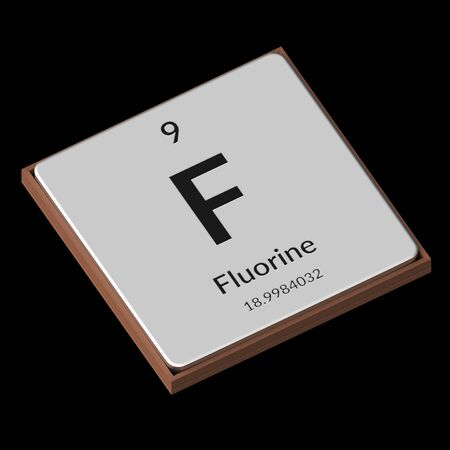 Embossed isolated metal plate displaying the chemical element Fluorine, its atomic weight, periodic number, and symbol on a black background. This image is a 3d render. Stock Photo