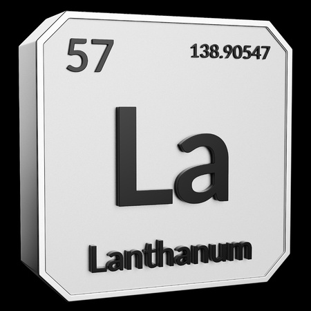 3d text of Chemical Element Lanthanum, its atomic weight, periodic number, and symbol on shiny metal geometry with a black background. This image is a 3d render.