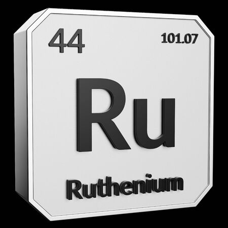 3d text of Chemical Element Ruthenium, its atomic weight, periodic number, and symbol on shiny metal geometry with a black background. This image is a 3d render.