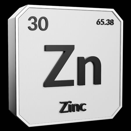 3d text of Chemical Element Zinc, its atomic weight, periodic number, and symbol on shiny metal geometry with a black background. This image is a 3d render.
