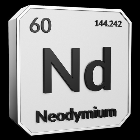 3d text of Chemical Element Neodymium, its atomic weight, periodic number, and symbol on shiny metal geometry with a black background. This image is a 3d render.