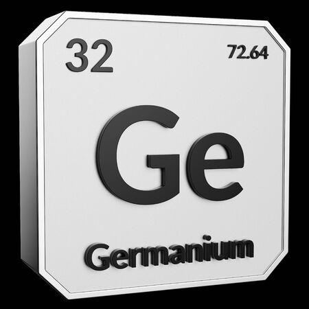 3d text of Chemical Element Germanium, its atomic weight, periodic number, and symbol on shiny metal geometry with a black background. This image is a 3d render. Stock fotó