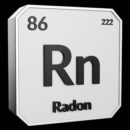 3d text of Chemical Element Radon, its atomic weight, periodic number, and symbol on shiny metal geometry with a black background. This image is a 3d render. Stock fotó