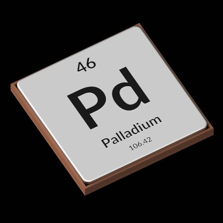 Embossed isolated metal plate displaying the chemical element Palladium, its atomic weight, periodic number, and symbol on a black background. This image is a 3d render.