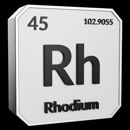 3d text of Chemical Element Rhodium, its atomic weight, periodic number, and symbol on shiny metal geometry with a black background. This image is a 3d render. Stock Photo