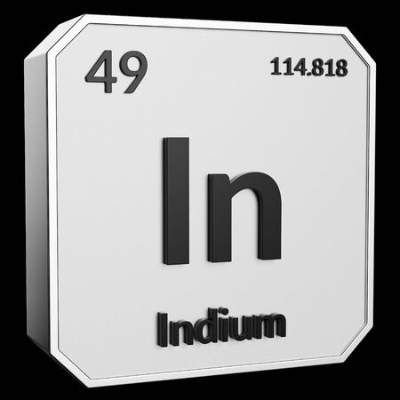 3d text of Chemical Element Indium, its atomic weight, periodic number, and symbol on shiny metal geometry with a black background. This image is a 3d render. Stock fotó