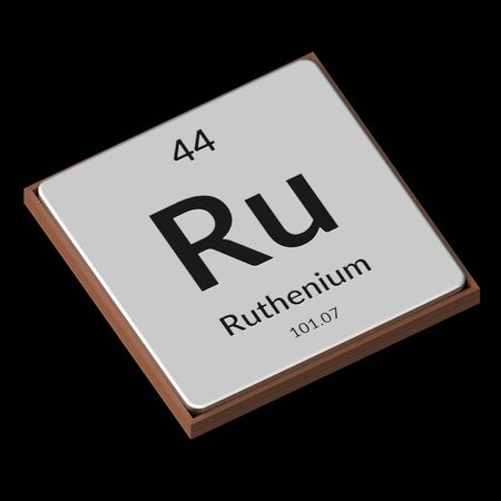 Embossed isolated metal plate displaying the chemical element Ruthenium, its atomic weight, periodic number, and symbol on a black background. This image is a 3d render.