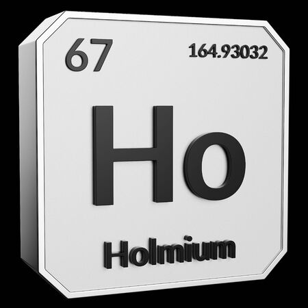3d text of Chemical Element Holmium, its atomic weight, periodic number, and symbol on shiny metal geometry with a black background. This image is a 3d render.