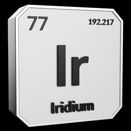 3d text of Chemical Element Iridium, its atomic weight, periodic number, and symbol on shiny metal geometry with a black background. This image is a 3d render.