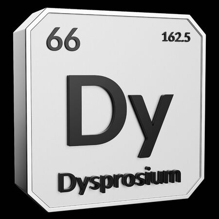 3d text of Chemical Element Dysprosium, its atomic weight, periodic number, and symbol on shiny metal geometry with a black background. This image is a 3d render.