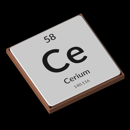 Embossed isolated metal plate displaying the chemical element Cerium, its atomic weight, periodic number, and symbol on a black background. This image is a 3d render.