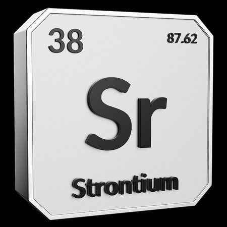 3d text of Chemical Element Strontium, its atomic weight, periodic number, and symbol on shiny metal geometry with a black background. This image is a 3d render.