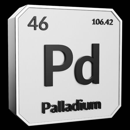 3d text of Chemical Element Palladium, its atomic weight, periodic number, and symbol on shiny metal geometry with a black background. This image is a 3d render.