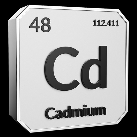 3d text of Chemical Element Cadmium, its atomic weight, periodic number, and symbol on shiny metal geometry with a black background. This image is a 3d render. Stock fotó