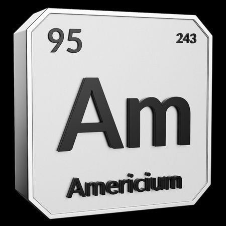 3d text of Chemical Element Americium, its atomic weight, periodic number, and symbol on shiny metal geometry with a black background. This image is a 3d render. Stock fotó