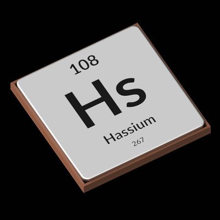 Embossed isolated metal plate displaying the chemical element Hassium, its atomic weight, periodic number, and symbol on a black background. This image is a 3d render.