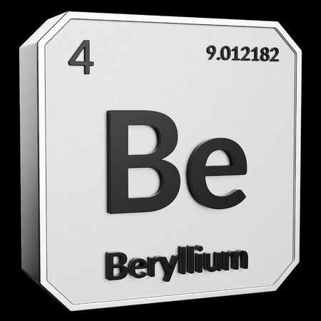 3d text of Chemical Element Beryllium, its atomic weight, periodic number, and symbol on shiny metal geometry with a black background. This image is a 3d render.